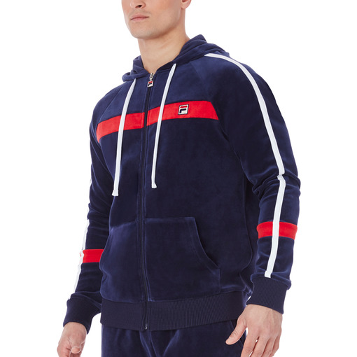 velour slim fit hoody in navy