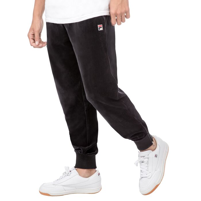 slim velour pants in black
