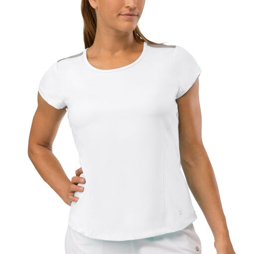 net set cap sleeve top in white