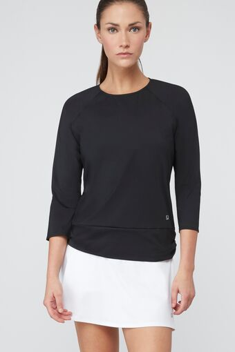 ruched 3/4 sleeve top in black