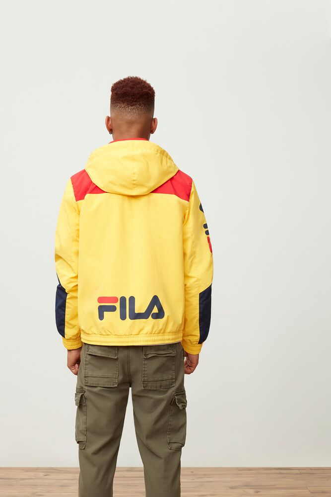 earl full zip hooded jacket in yellow