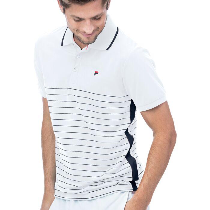 heritage polo stripe in white