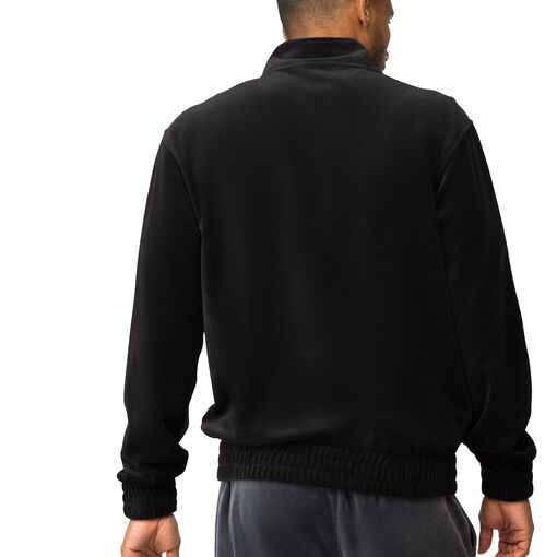 solid velour jacket in black