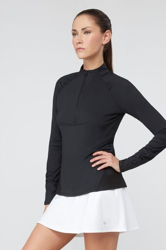 half zip pullover in black