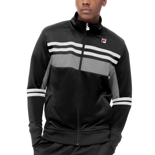 striped tricot jacket in black