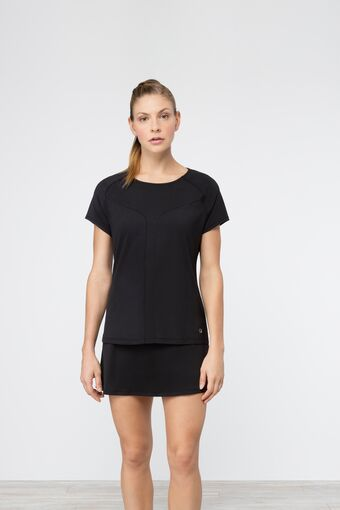 sleek short sleeve top in black