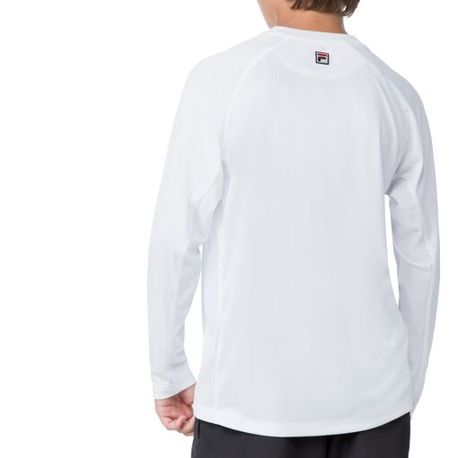boy's slam long sleeve top in white