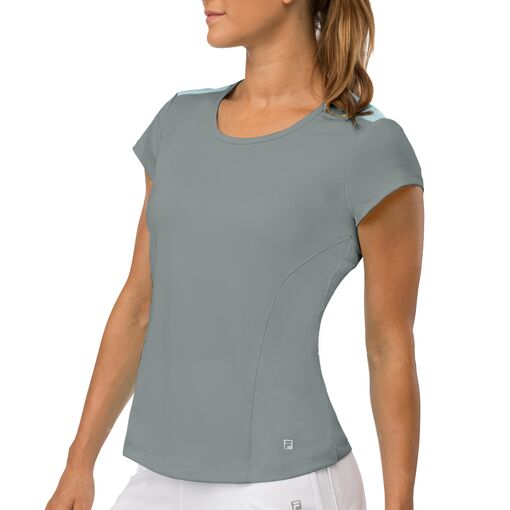 net set cap sleeve top in grey