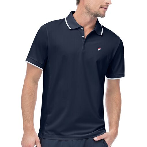 heritage pinstripe mesh polo in navy