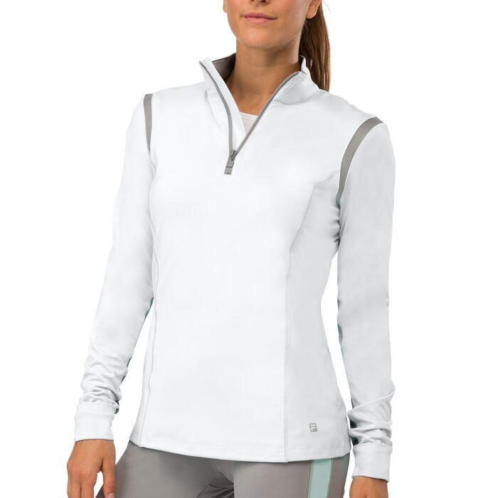 net set half zip pullover in white
