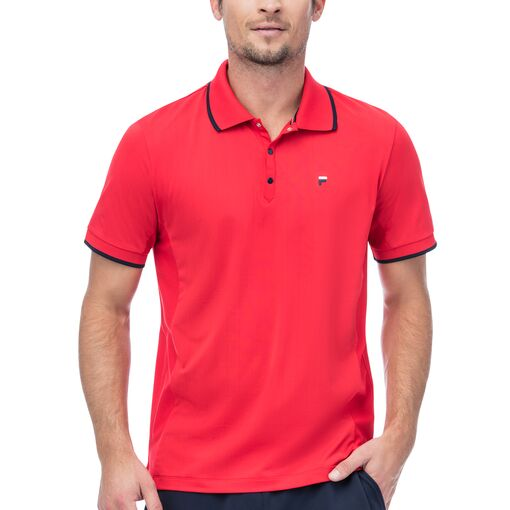 heritage pinstripe mesh polo in red