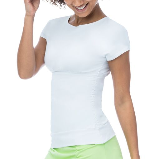 court couture short sleeve top in white