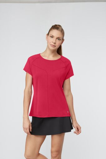 sleek short sleeve top in red