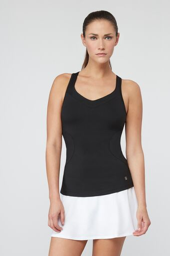 print trim racerback tank in black