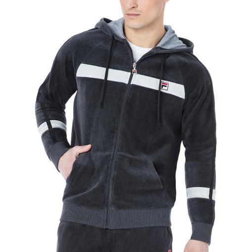 velour slim fit hoody in smoke