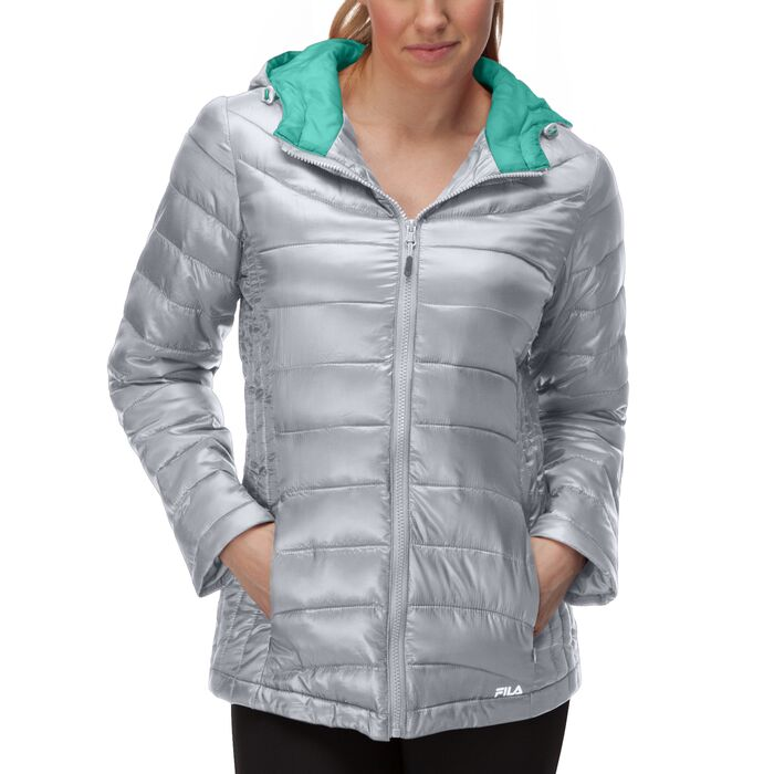 channel puffer jacket in silver