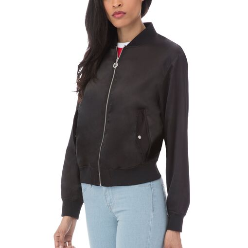 tilly satin jacket in black