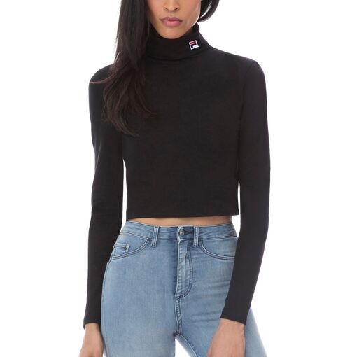 annie cropped turtleneck in black