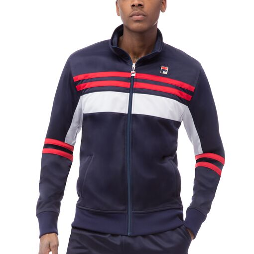 striped tricot jacket in navy