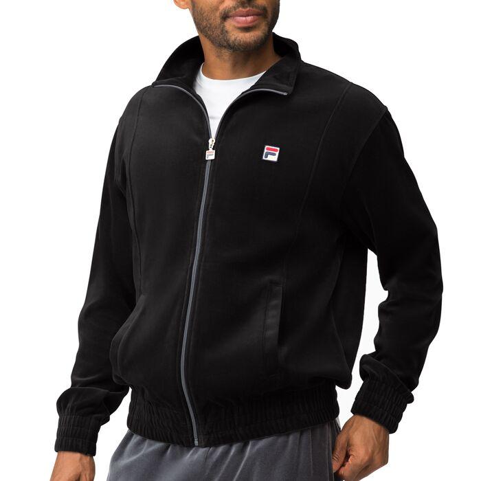 solid velour jacket in black