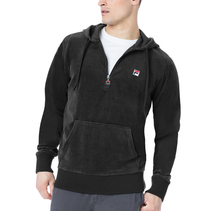 venezia half zip velour hoody in black