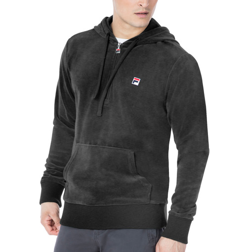 venezia half zip velour hoody in smoke