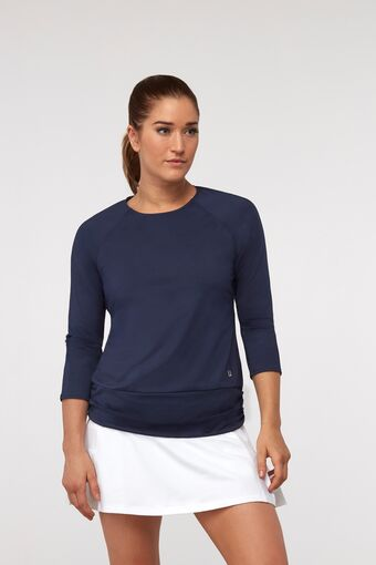 ruched 3/4 sleeve top in navy