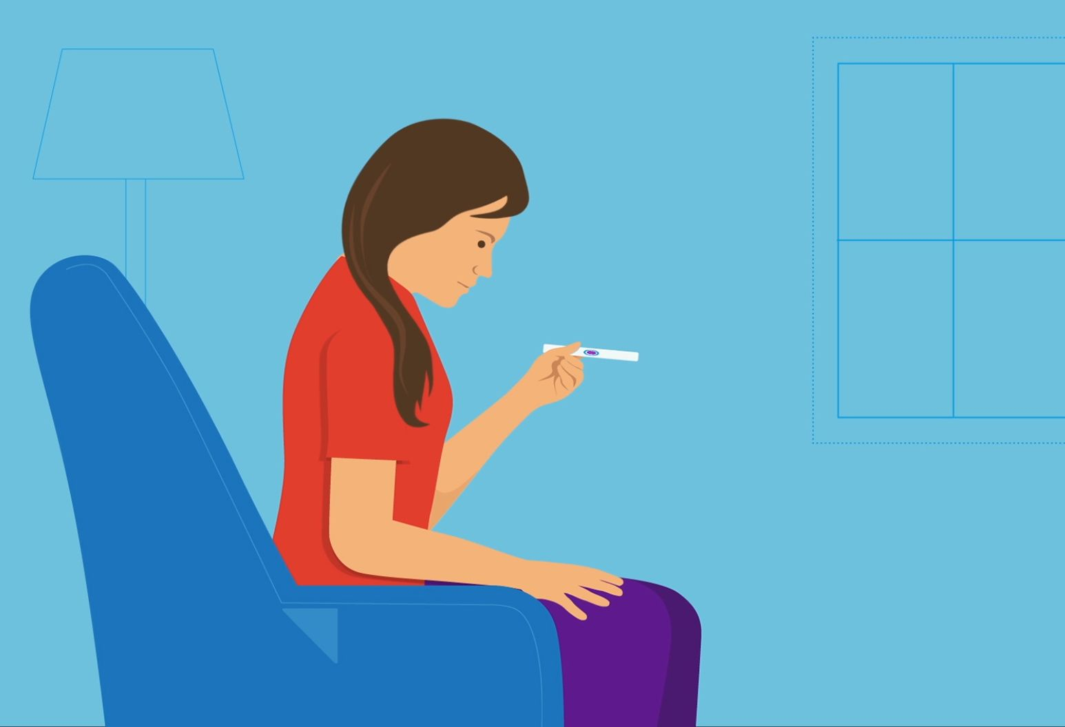 Illustration of Woman sitting with pregnancy test.
