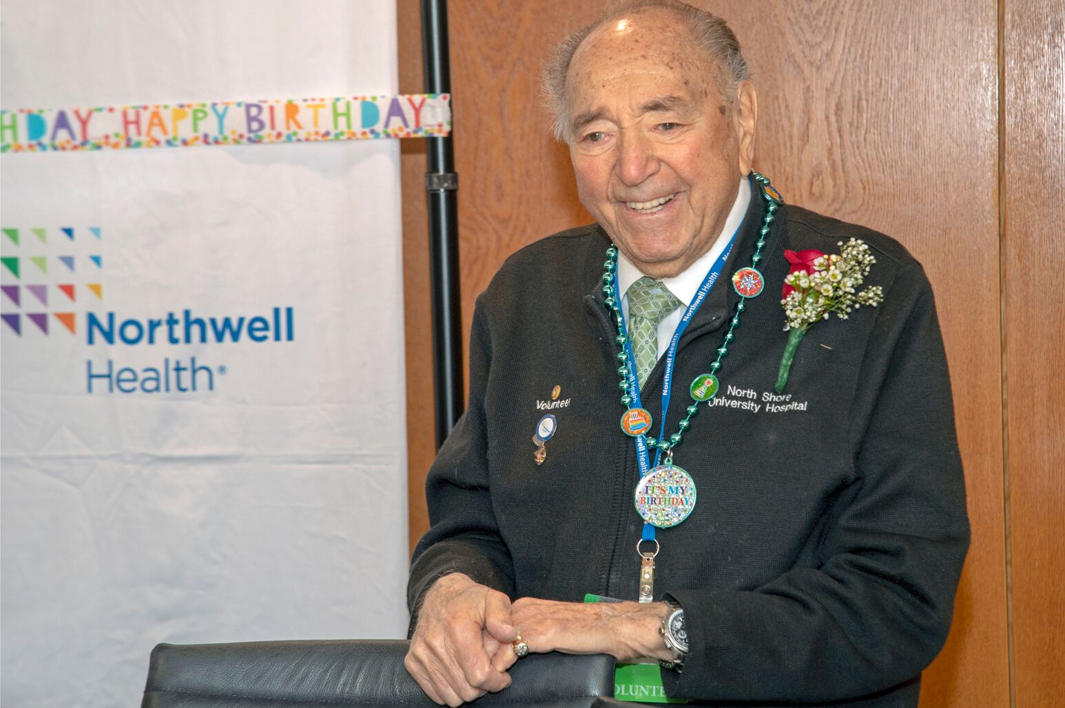 Arthur Seidman turned 102 on February 28. He has volunteered at North Shore University Hospital for 23 years.