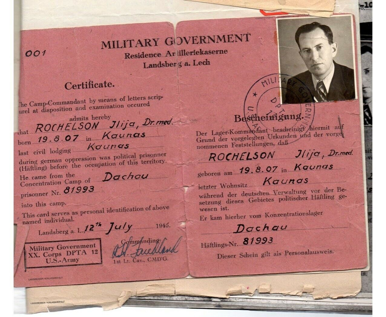 A scan of a worn U.S. military government document written in German and filled out with Eli Rochelson's information.