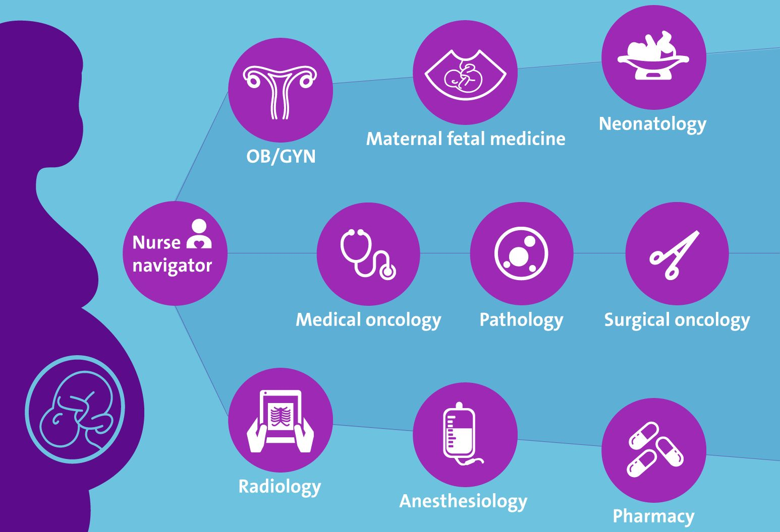 An infograph showing all of the medical disciplines that collaborated to help Michelle Cohen through ovarian cancer while pregnant.