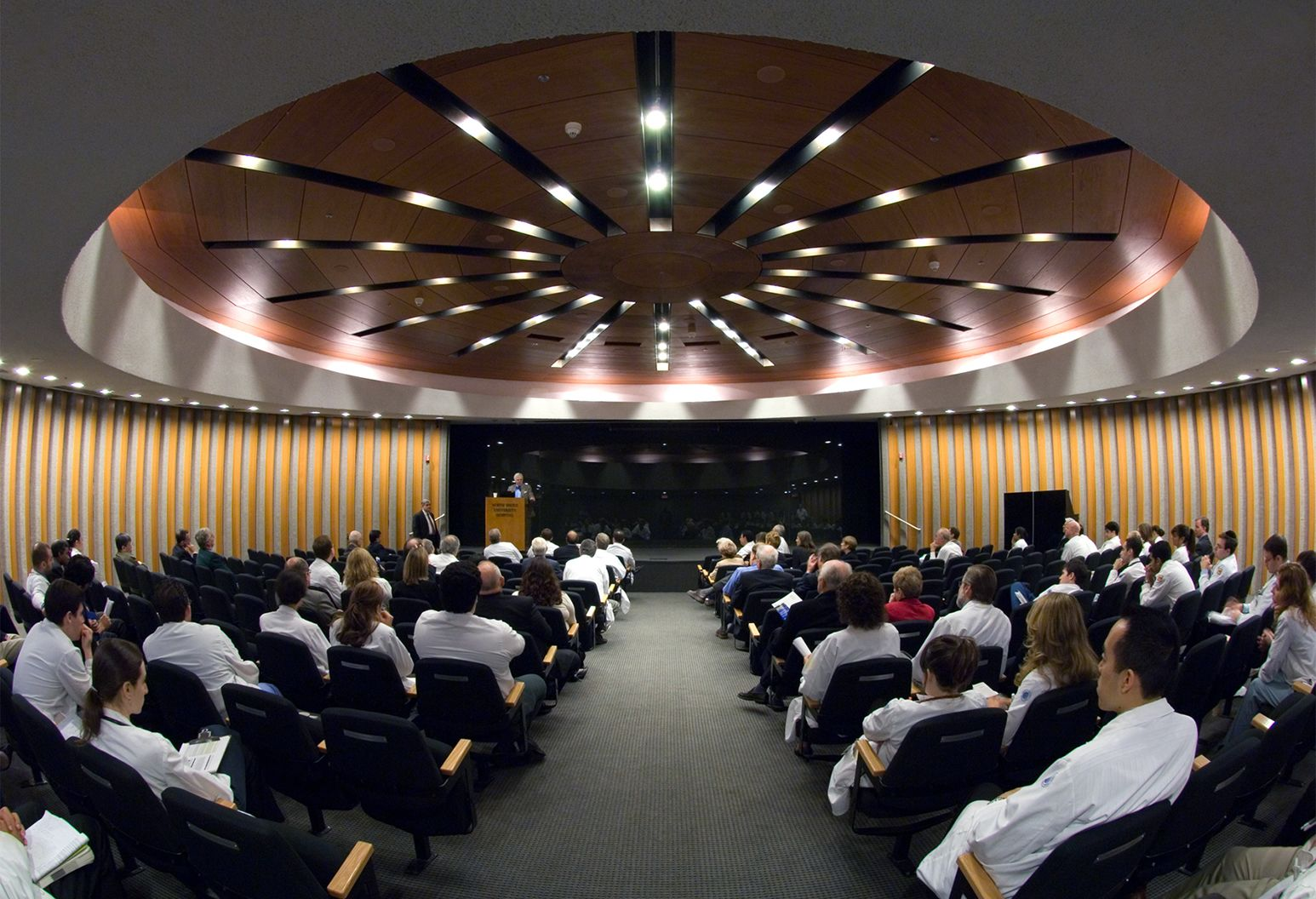 Panorama image of an auditorium facing the stage