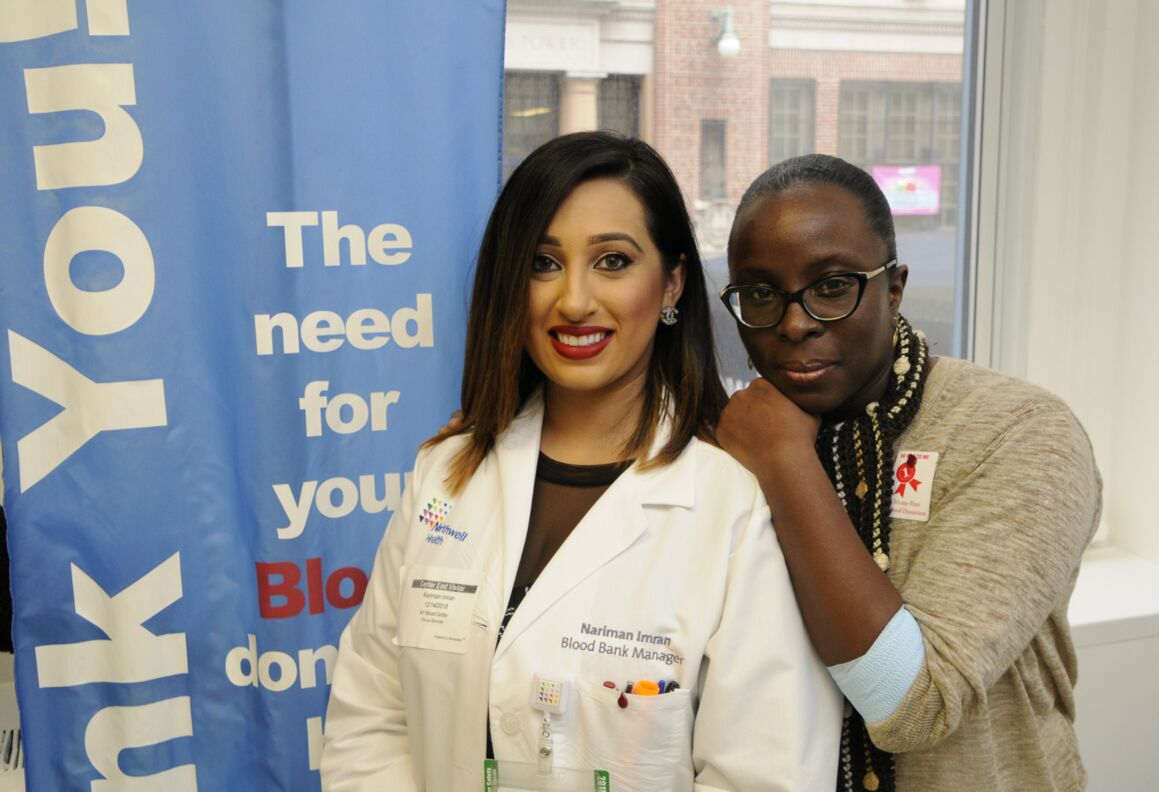 Two women visiting the New York Blood Center