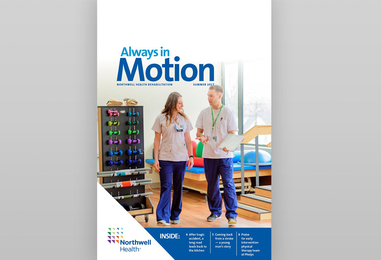 "Cover image of Northwell Health's ""Always in Motion"" publication."