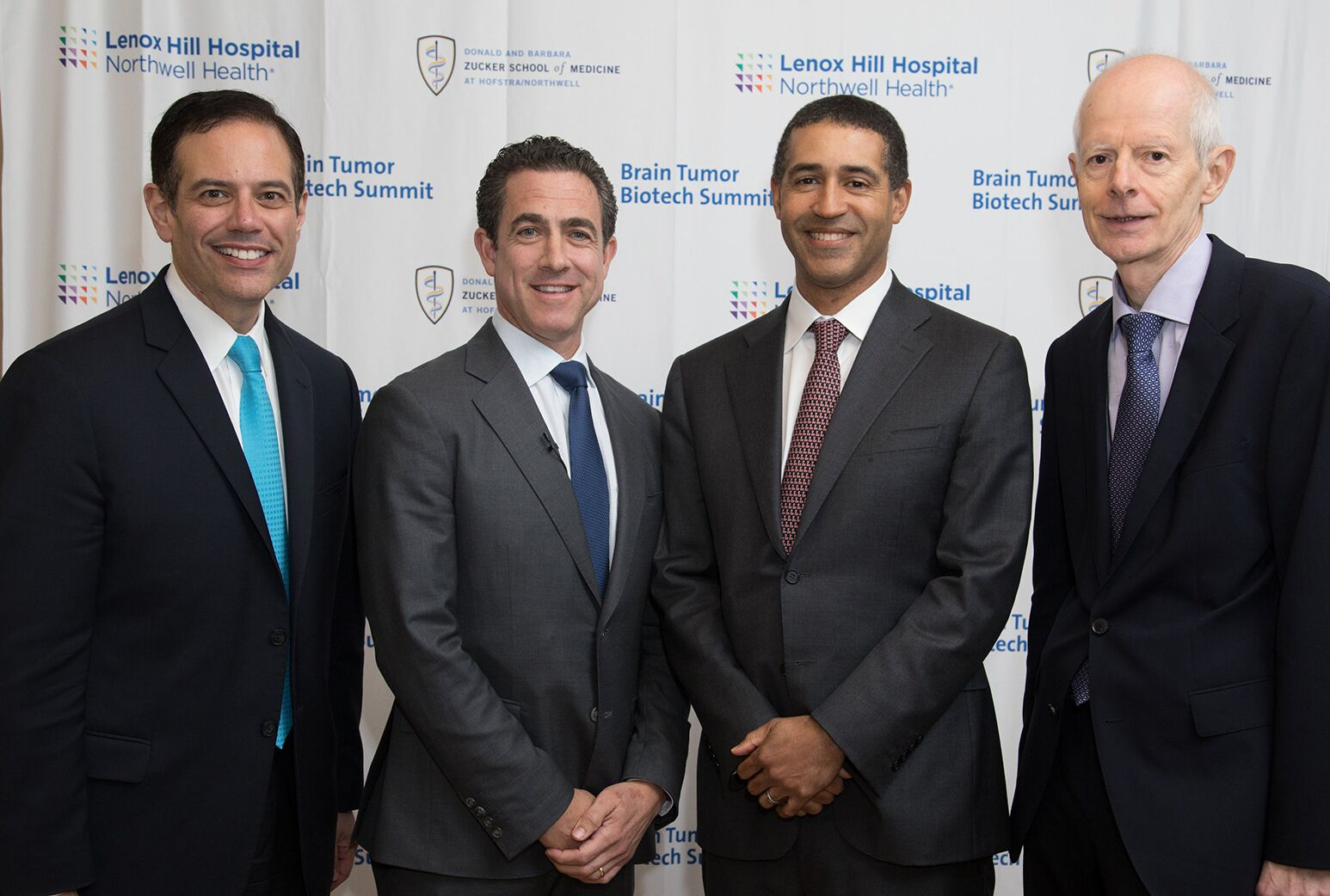 From left: Keynote speaker Steven Kalkanis, MD; John Boockvar, MD; keynote speaker William Curry, MD and Marc Symons, PhD.