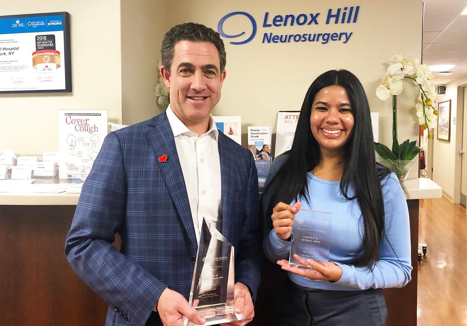 From left: Northwell Health's John Boockvar, MD, and Tamika Wong, MPH, honored by Oligo Nation.