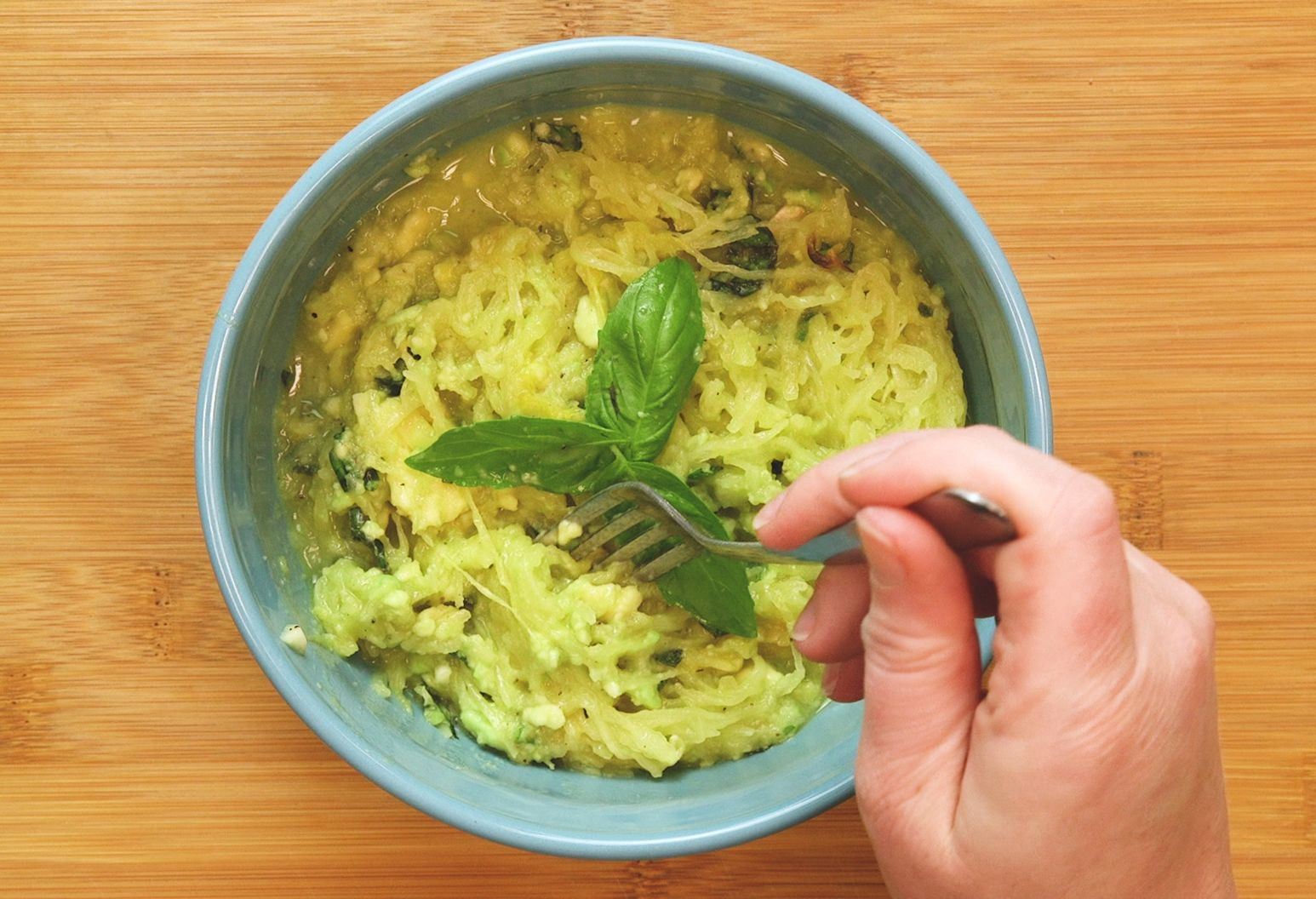 Spaghetti squash and avocado pesto recipe. |