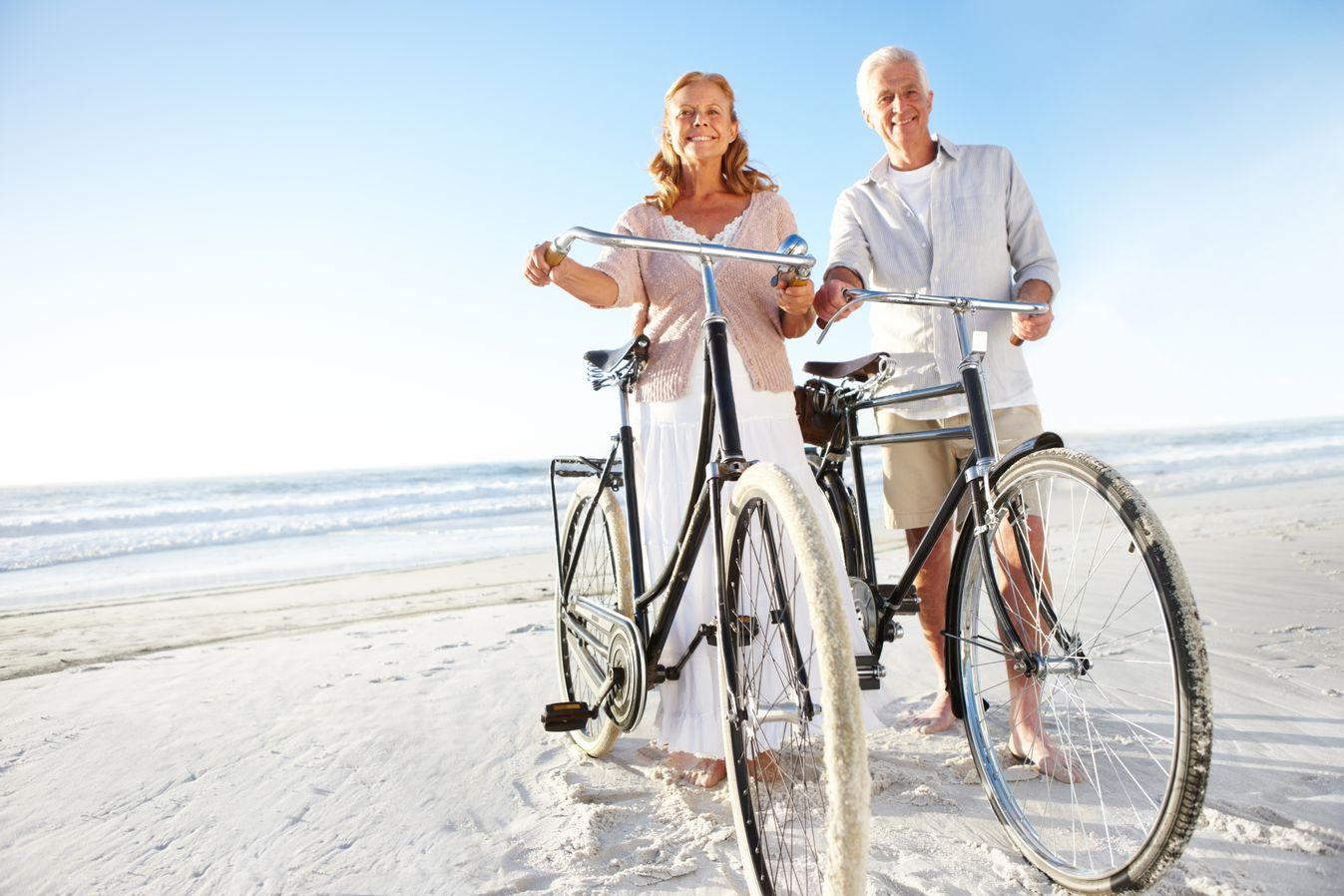 A couple with bikes