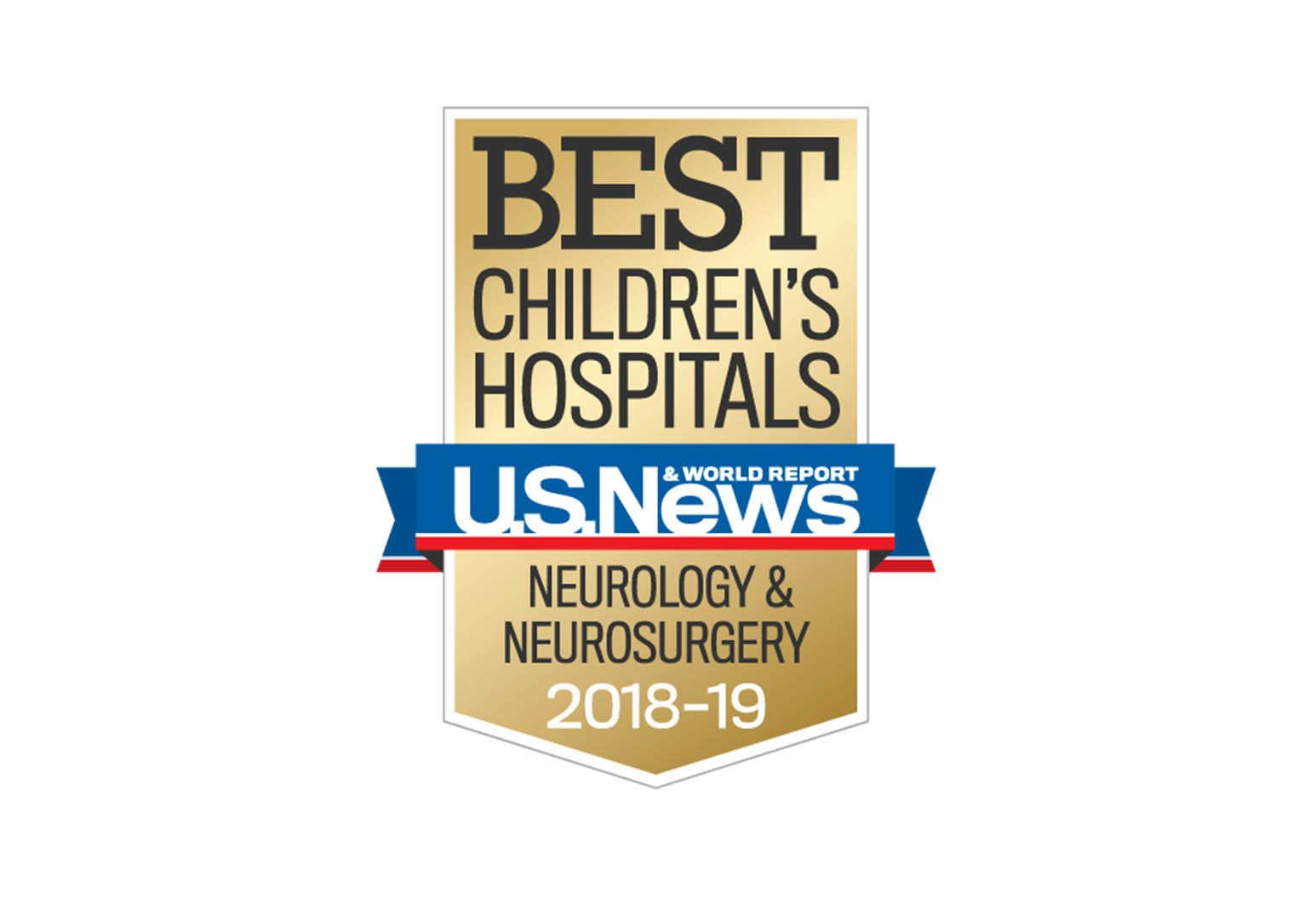 This is an emblem from U.S. New & World Report for best children's hospital for neurology and neurosurgery from 2018-2019.