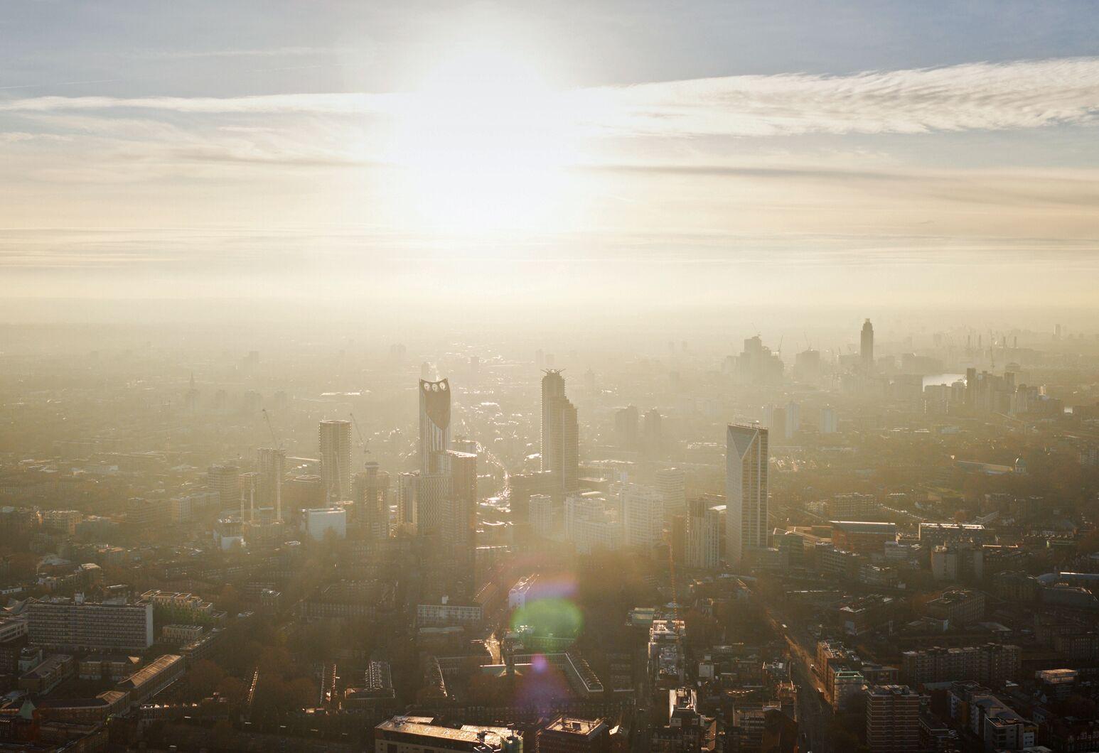 Smog rests over a city