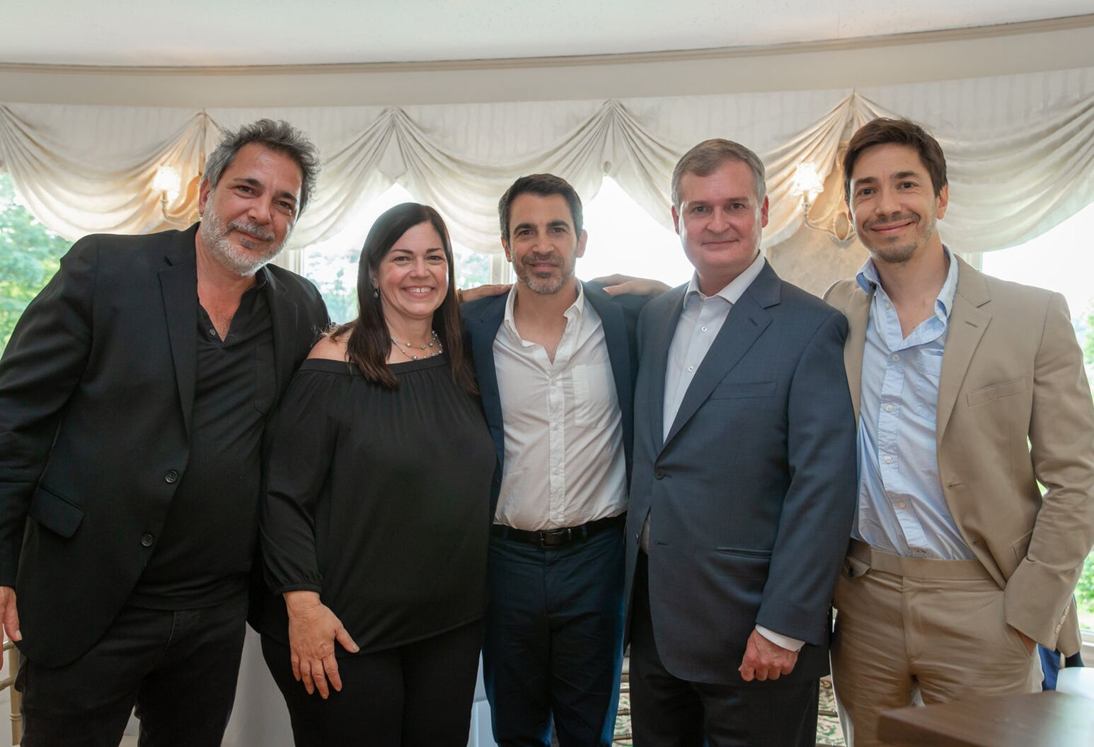 From left: Steven Messina, Marybeth Messina Seus, Chris Messina, Robert Kerr, MD, PhD and Justin Long at the Philip Messina Memorial Golf Tournament.