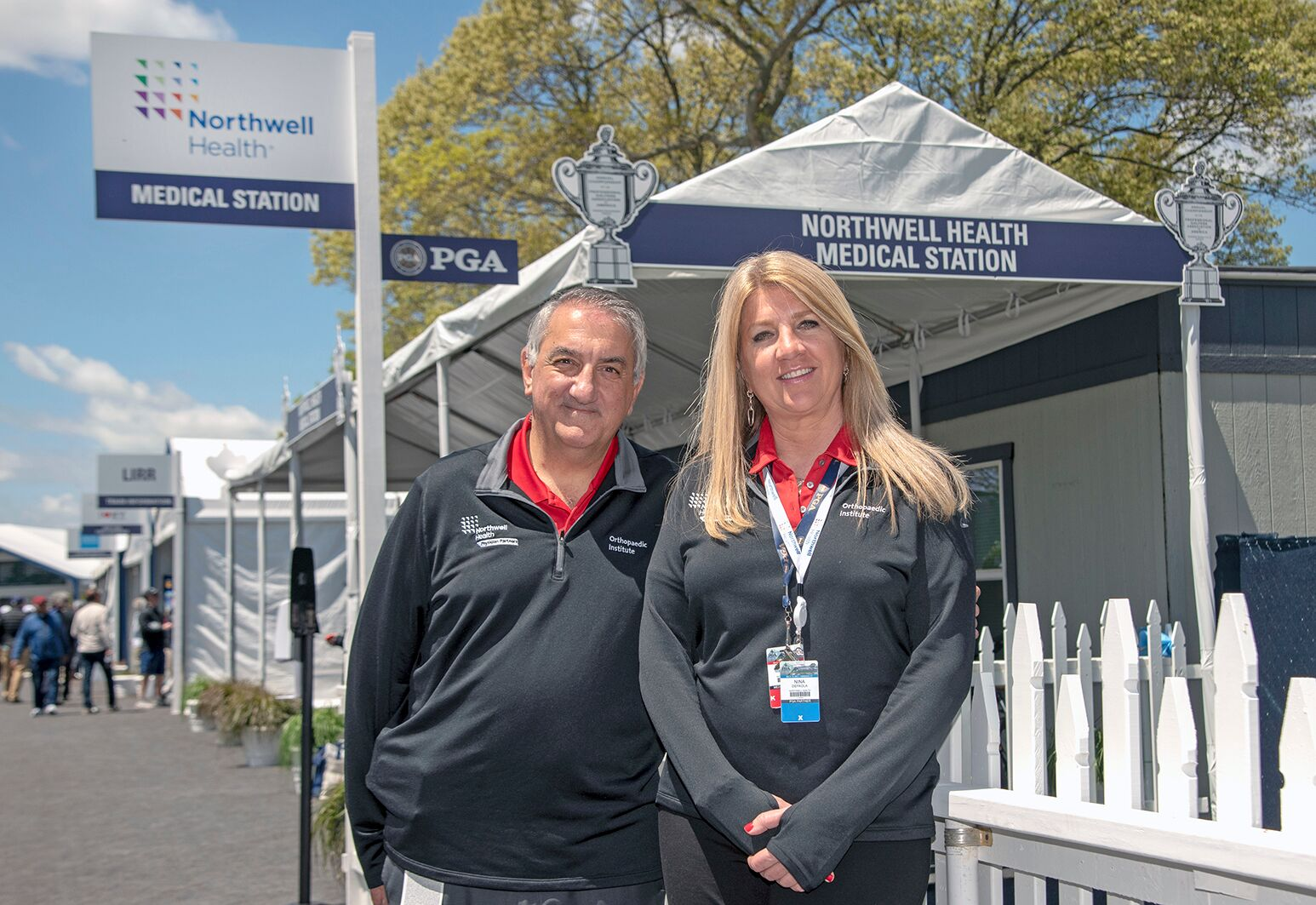 Thomas Mauri, MD, and Nina DePaola, PT, represent Northwell at the PGA Championship.