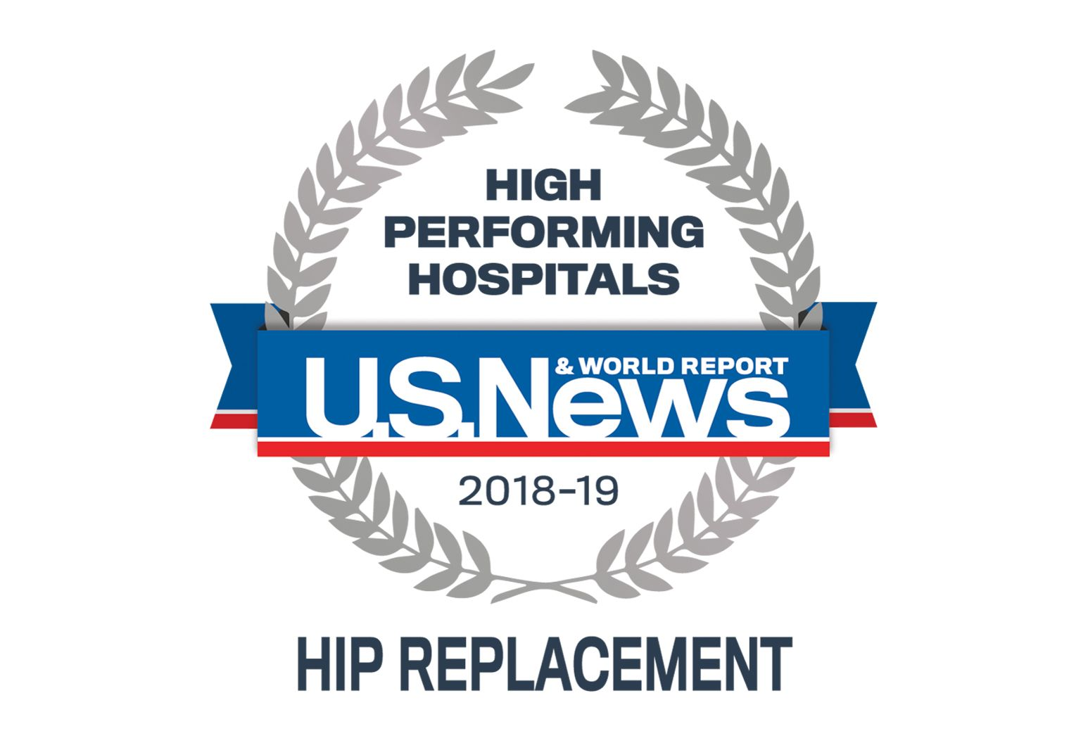 US News badge showing high performance in hip replacement
