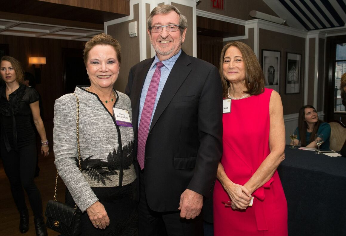 Elaine J. Rosenblum, RN; Michael Dowling, CEO and President of Northwell Health; Jill Ehrenberg, Auxiliary Chair.