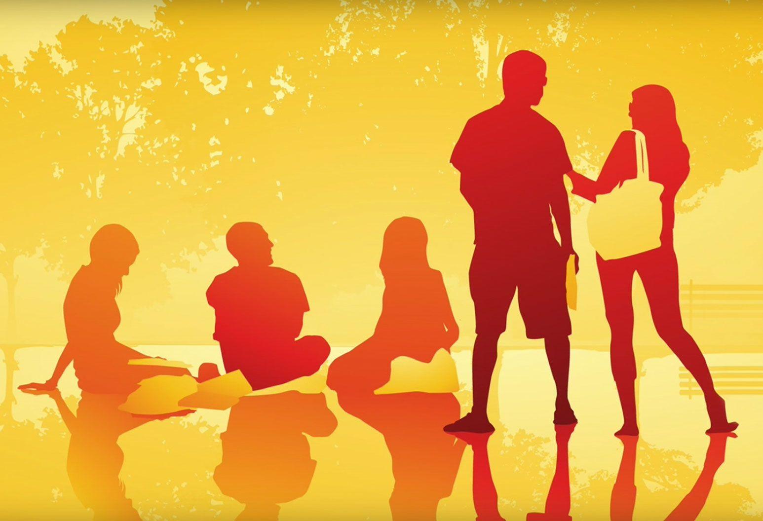 Graphic of young adults sitting and standing in a park. Only their shadows can be seen.