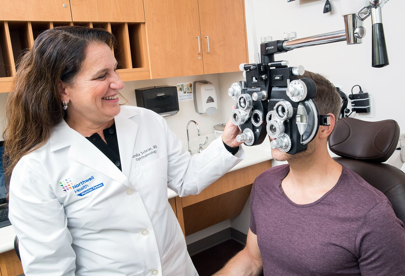 Patient getting their vision tested.