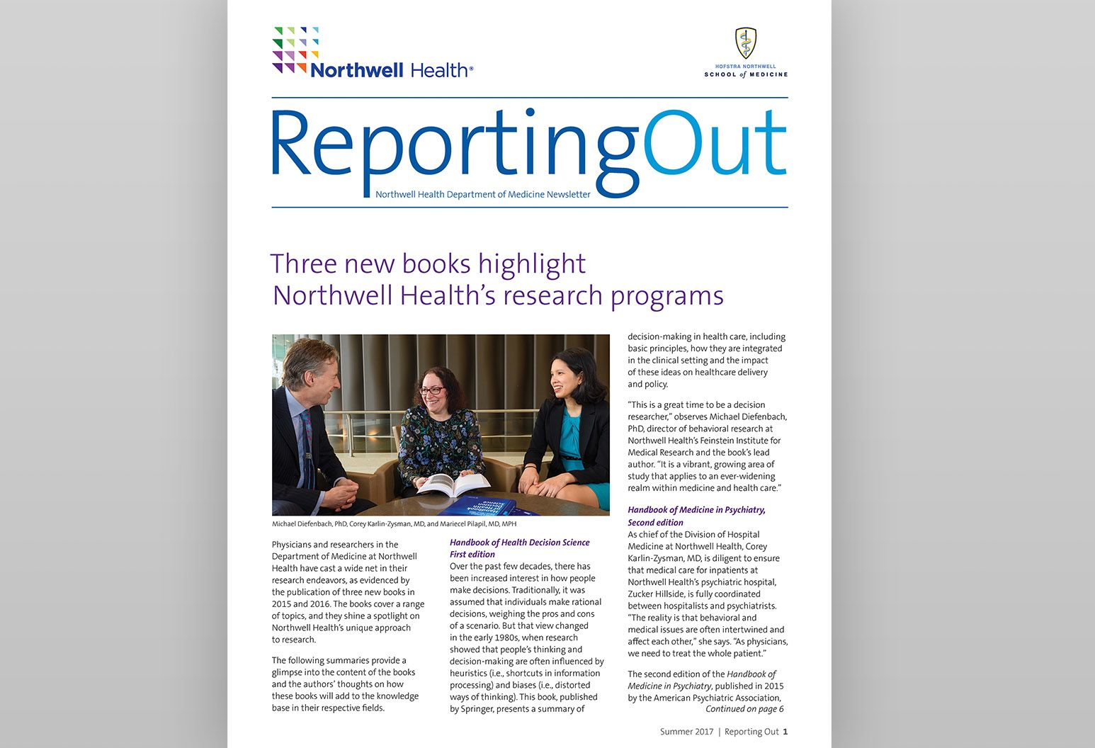 "The cover of the most recent publication ""Reporting Out"""
