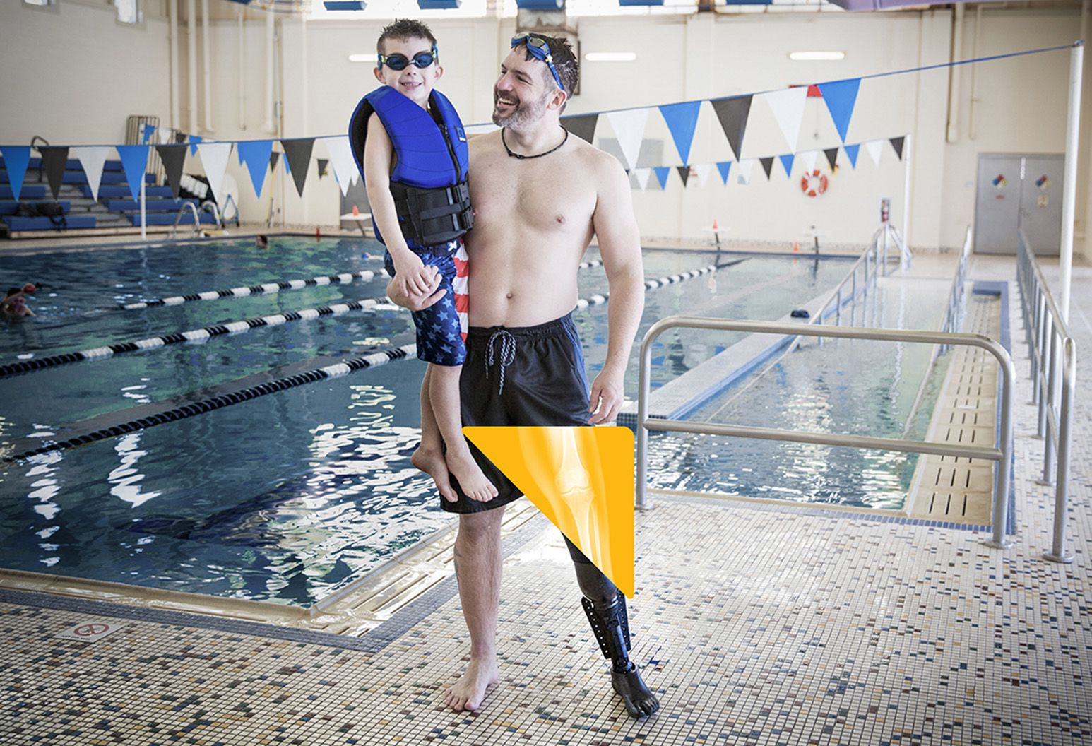 Man with prosthetic leg is standing on diving board getting ready to dive into a pool. Innovation helped him dive into life