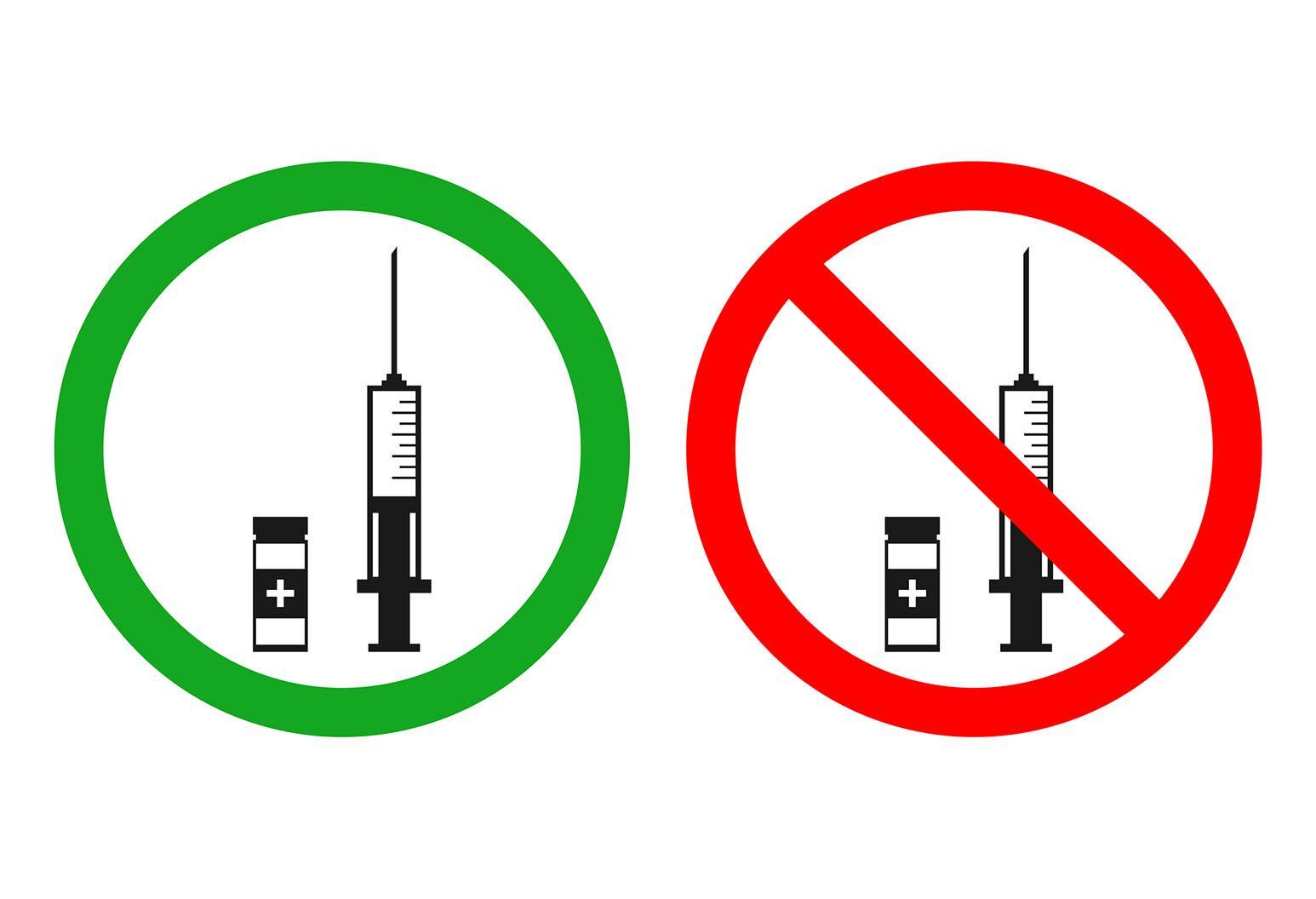 2 symbols depict the vaccine debate