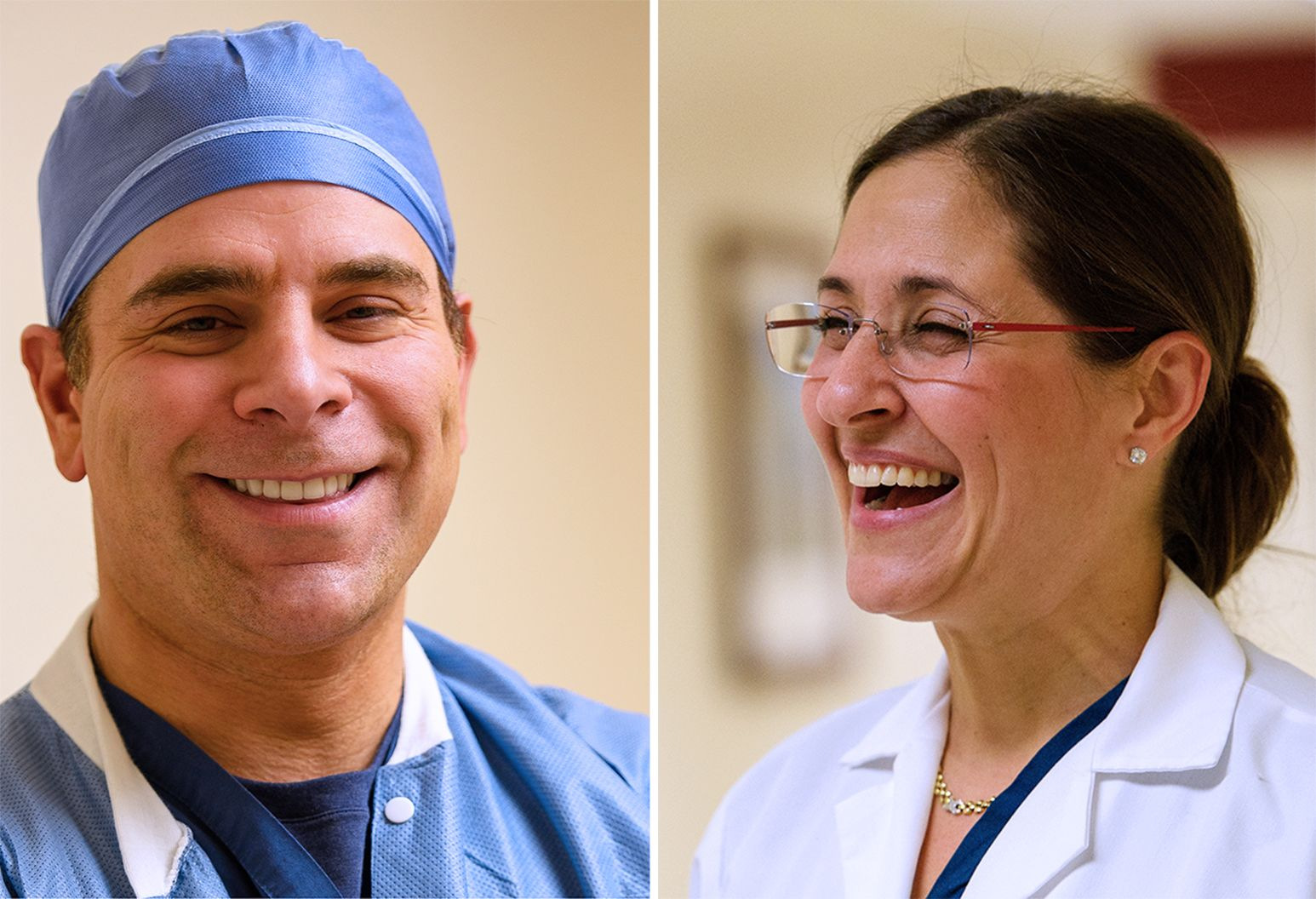 There are two images side by side. On the left is a man in surgical scrubs and a surgical cap. On the left is a smiling woman with glasses and a white lab coat.
